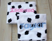 Personalized Pet Blanket Fleece Paw Prints Bones 3 sizes
