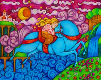 Beautiful Children's Illustration of Girl Riding a Horse Fantasy Fine Art Print 8x10