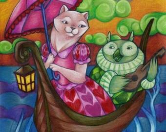 "Whimsical Nursery Art Children's Illustration ""The Owl and the Pussycat"" 8x10 Fine Art Print"