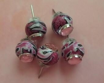 Pink Safari polymer clay Push Pins