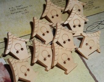 10 Bird house Wooden All Natural Push Pins - Thumb tacks