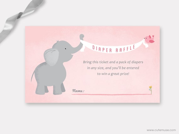 Elephant Diaper Raffle Ticket Printable, Baby Shower Game, Insert ...