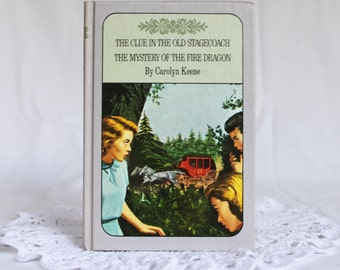 Nancy Drew, The Clue In the Old Stagecoach / The Mystery of the Fire Dragon, Twin Thriller Nancy Drew Books,  Vintage 1961 Nancy Drew Book