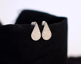 pear hammered sterling silver earrings