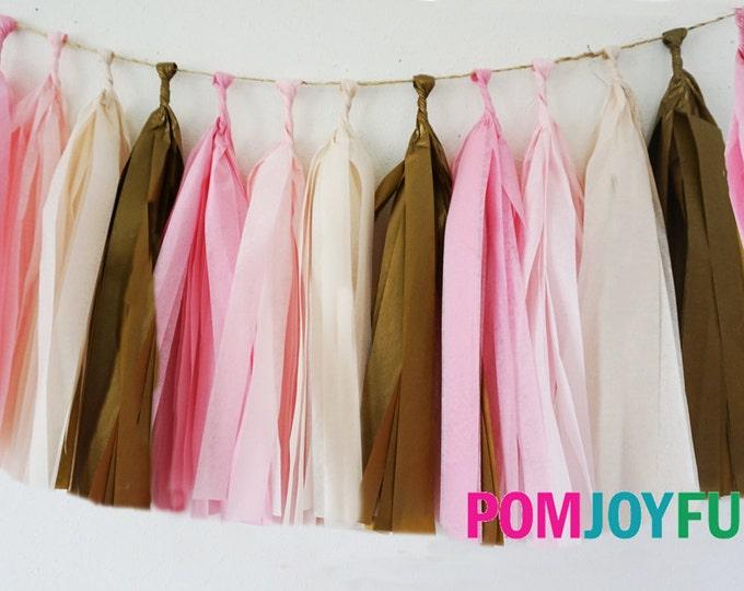 Garland tassel in pink, light pink, ivory, and antique gold | Tissue paper tassel | Birthday | Wedding | Vintage wedding decor