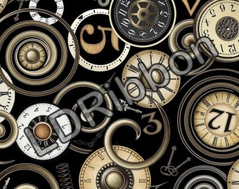 Timeless by Dan Morris - Clock Faces on Black for Quilting Treasures