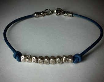 Blue Leather Bracelet with Sterling Silver Daisy Bali Beads
