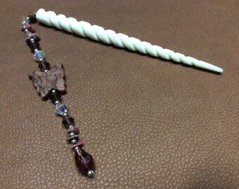 Carved Bone Hair Stick with Gemstones, Crystals and  Butterfly Bead, Bun Holder,  Handmade Hair Accessory,  Made in Canada