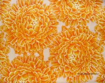 Yellow Gold Floral Fabric, Fabric Freedom F895 Sunburst, Yellow & Orange Dahlias, Mums, Chrysanthemum Fabric, Cotton Floral