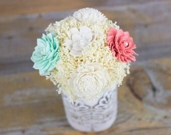 Wedding Centerpiece,Mint,Coral Sola Flower Centerpiece,Alternative Centerpiece, Keepsake Centerpiece,Woodland Centerpiece,Mason jar