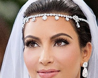 Romantic Wedding Bride Accessories Hair Jewelry Headbands -Similar to Kim Kardashian
