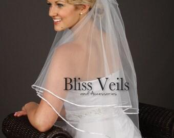 Veil with Blusher, 2 Layer Veil, White Wedding Veil, Ivory Veil, Ribbon Veil, Waist Veil, Blusher Veil,  White Waist Veil, Elbow Veil, Veil