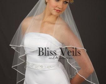 Pearl Veil, Fingertip Veil, Wedding Veil, Bridal Veil, Veils, Ivory Wedding Veil, White Veil, Available in ANY Length! Bliss Wedding Veils