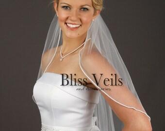 Pearl Beaded Veil, Elbow Veil, Soft Veil, Ivory Tulle Veil, Single Tier Veil, Bridal Veil White, Pearl Edge Veil, Wedding Veil, Pearl Veil