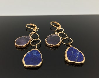 Lapiz Lazuli and Amethyst Sliced Gold Earrings // Free Form Gold Dipped in 18k Gold Vermeil // French Lever-back
