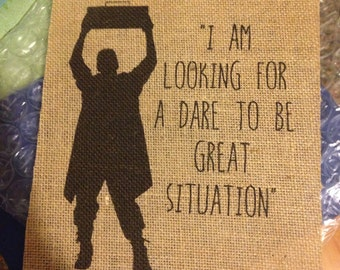 "Say Anything - Lloyd Dobler - ""Looking for a dare to be great situation"" - Movie - Burlap Print - 8.5x11"