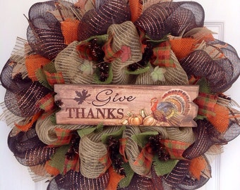 Give Thanks Deco Mesh Thanksgiving Wreath With Colorful Turkey