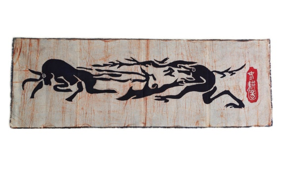 Farmer and Cattle - Chinese Abstract Batik Painting Tapestry Wall Art Decor 50 x 18 inches