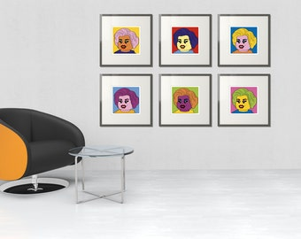 Complete Set of Six Marilyn's (Andy Warhol, Marilyn Monroe, Pop Art) - LEGO® Art, by Little Big Art