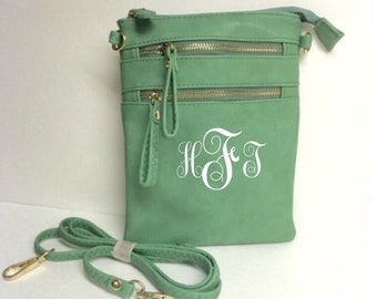 Leather Crossbody Light Green  Purse with FREE Monogramming