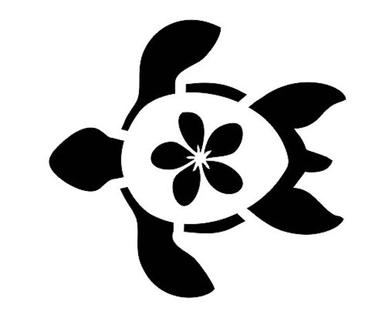 TURTLE With Plumeria Flower STENCIL Pick A Size Between