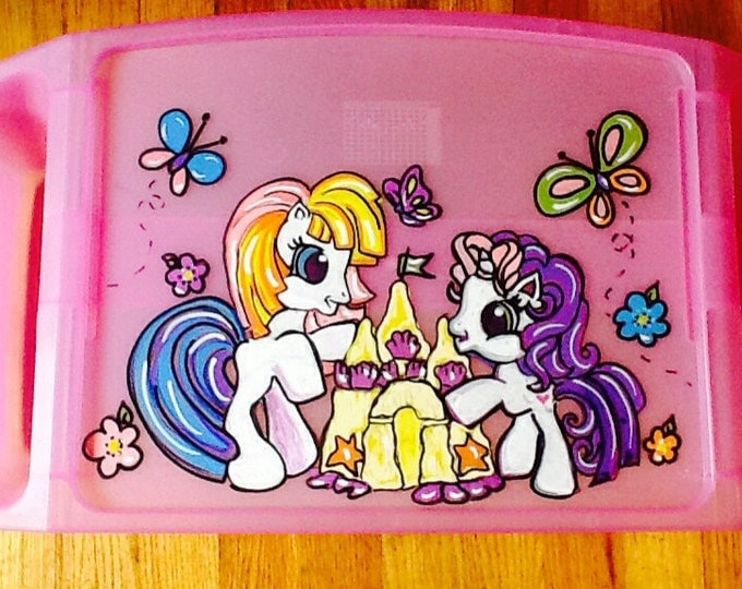 little pony activity tray, girls activity tray, children's tv tray, girls lap tray, lap tray, game tray, pony game tray