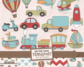 Transportation Clipart & Patterns In Vintage - Boys Transportation Clipart, Transportation Digital Papers, Airplane Clipart, Train Clipart