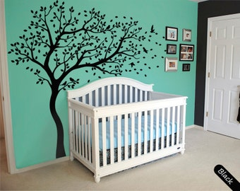 Tree wall decal huge tree wall decals nursery wall decor large wall mural tree shape kids room wall decoration cute birds and leaves - 099