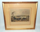 """1840- William H Bartlett """"View of Meredith""""  Steel Engraving Hand Colored"""