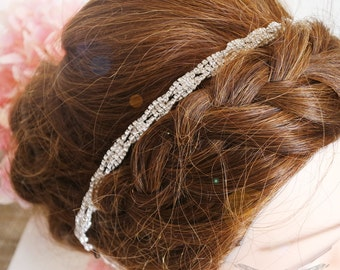 Bridal Headpiece, wedding headpiece, bridal headband, wedding headband with comb, Thin bridal headpiece, Thin bridal headband RAEMIA