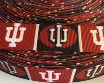 "Indiana University Hoosiers 7/8"" Grosgrain Ribbon - 5 Yards, NCAA Basketball"
