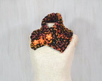 Chunky merino scarf, soft woolen scarf, brown black orange wool, textile flowers, neck warmer, soft, thick wool, OOAK