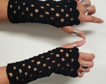 Fingerless Gloves, Women's Wrist Warmers, Crochet Mittens, Arm Warmers, Winter Gloves Black Gloves