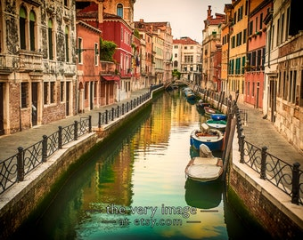 Red and Orange Venice Print, Italy Photograph, Italy Wall Art Venice Photography Gondola Home Decor #vi98