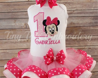 Minnie Mouse Birthday Top Ribbon Trim Tutu Hair Bow Outfit
