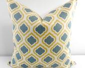 Blue Grey  Pillow Cover. Curtis Macon Saffron . Blue grey and yellow. Cotton. Sham Pillow case.Select your size.