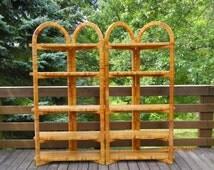 Woven Shelving Unit Folding Display Shelf Rattan Bamboo Wicker