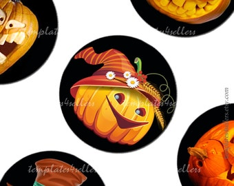 Digital Collage Sheet  Angry Pumpkin Halloween 1 inch round images Scrapbooking Pendants Printable Original  Printable 4x6 inch sheet 184