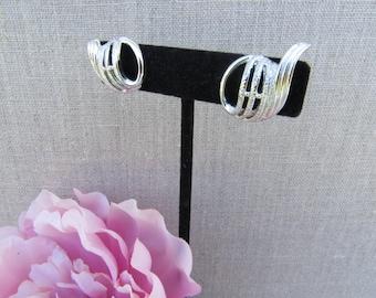 Coro Silver Tone Screw Back Earrings, Vintage 1960's Earrings