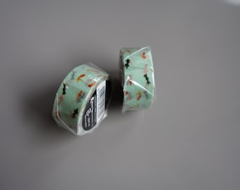 Japanese Washi Tape mint green with goldfish red black