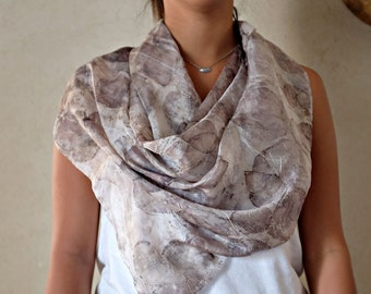 Silk Scarf Dark Gray Leaves Eco Print