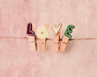 love photography, love print, love on wooden pegs art print,  romantic art, whimsical fine art print, nursery decor, home decor, wall decor