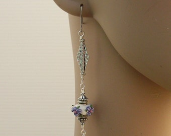Long Dangling Earrings with Lampwork Bead and Silver