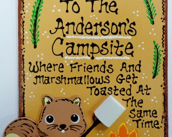 WELCOME CAMPSITE Sign Personalized Name SQUIRREL Camping Camper Plaque