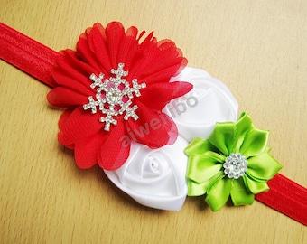 Rose Flower Headband, Satin Rosette Flowers and Chiffon Headband , Rhinestone Elastic Baby Girl Headband