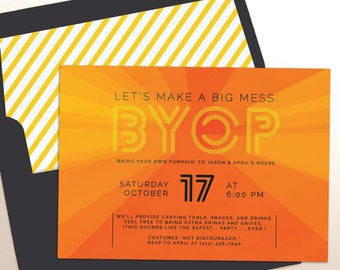 Pumpkin Carving Party | Halloween Party Invitation | BYOP: Bring your Own Pumpkin | Printable/Evite