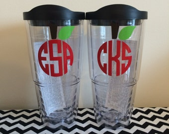 Teacher Monogram 24 oz Tumbler Cup with Lid and Straw - Apple, Personalized