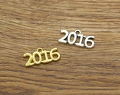 20pcs Year 2016 Charms Antique Silver Tone 24x12mm 1238