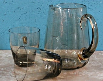 Vintage Whitefriars Smoked Glass Pitcher & Four Drinking Glasses