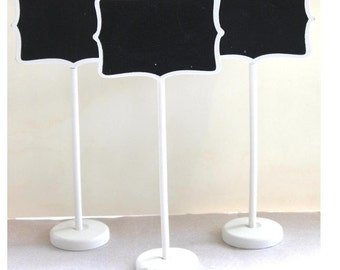 "3 White Mini Chalkboard Stands  Party  Wedding Buffet Signs Wedding ""Same Day Shipping"""